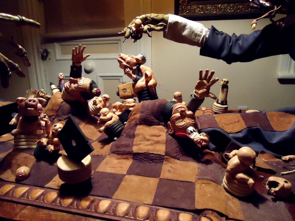 chess puppet counterpane